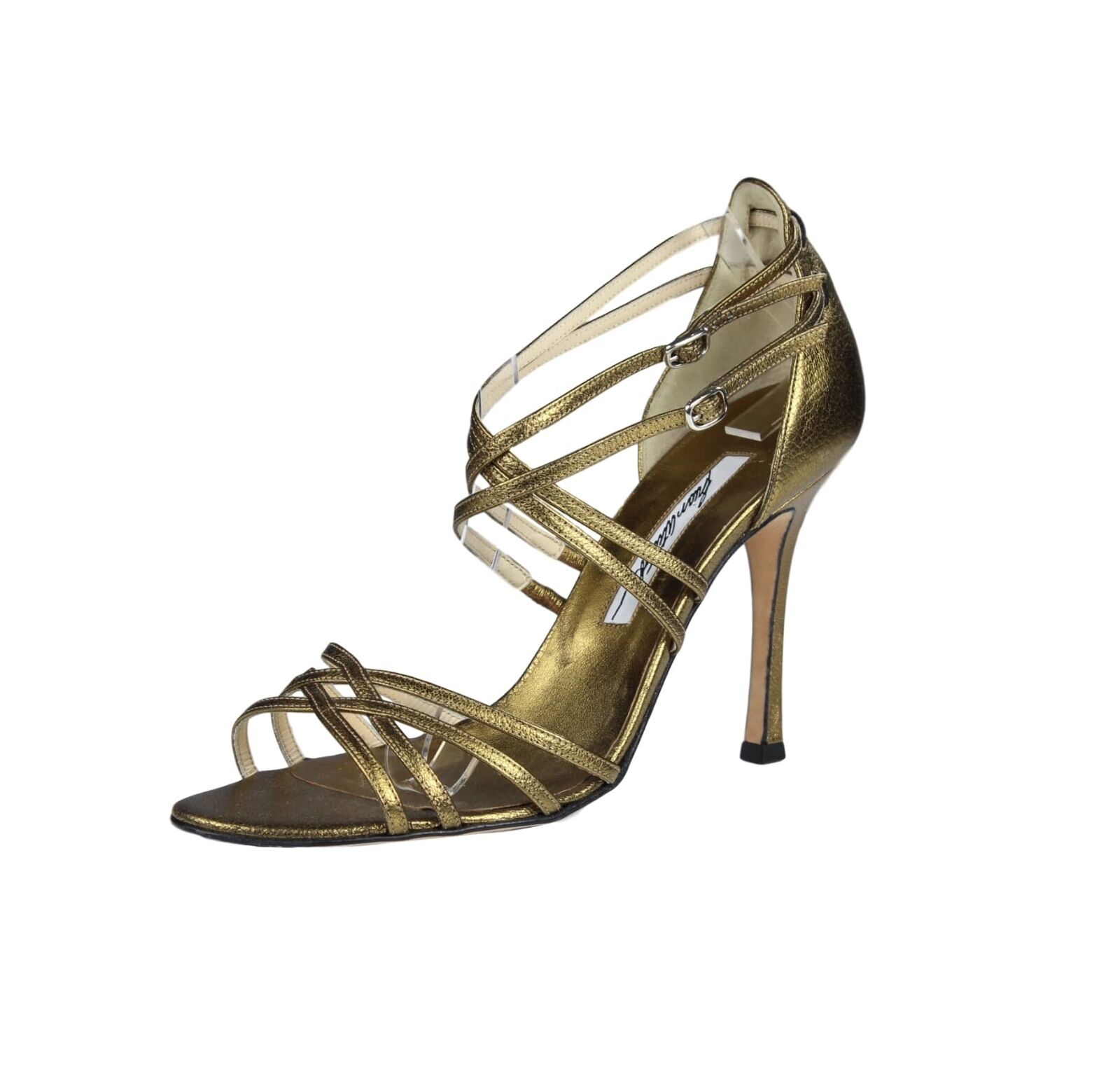 Brian Atwood Metallic gold Strappy Leather Open-Toe Heels - Size 38, US 8
