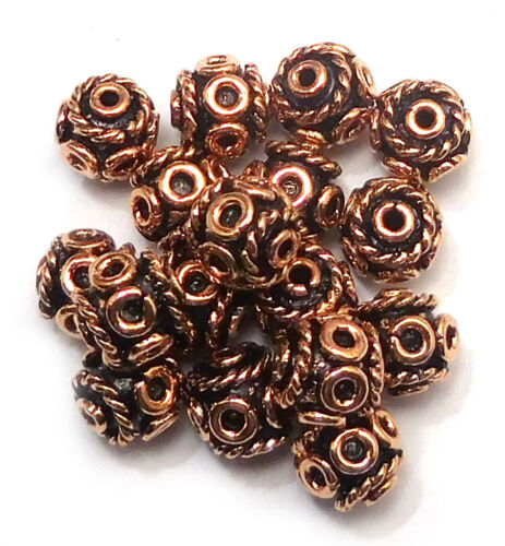8MM 10MM SOLID COPPER BALI BEAD STERLING SILVER PLATED 18K GOLD PLATED  B 6