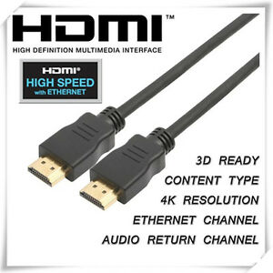 2m Gold Plated HDMI Cable  v1.4 Ultra HD 4K 2160p 1080p 3D with Ethernet HEC ARC