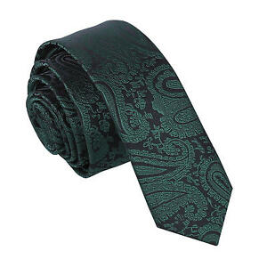 Emerald-Green-Mens-Skinny-Tie-Woven-Floral-Paisley-Formal-Wedding-Necktie-by-DQT