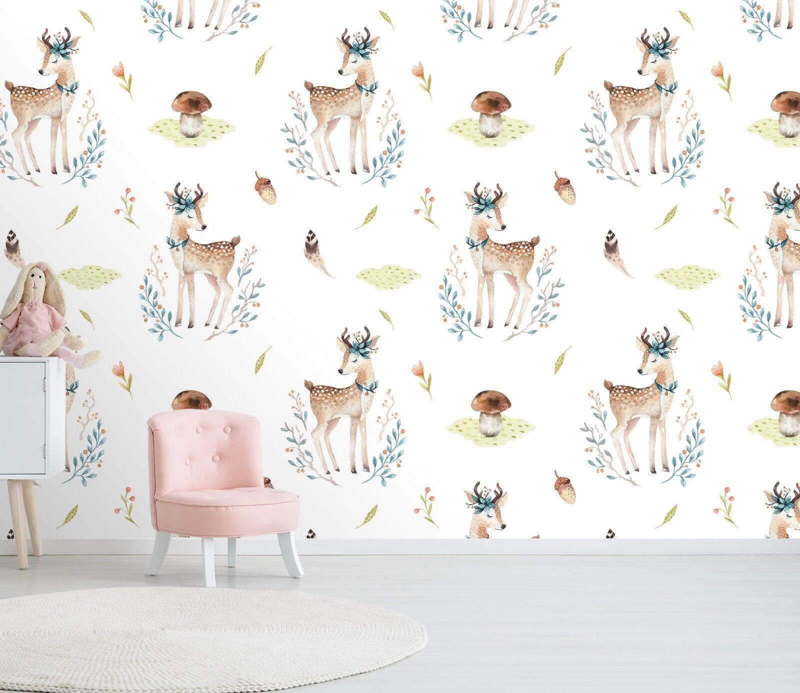 3D Mushroom Garden Deer 45 Wall Paper Wall Print Decal Wall Deco Indoor Murals