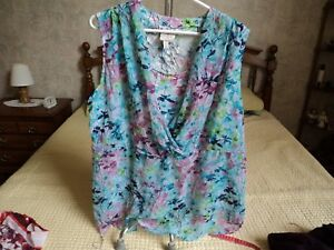 St-John-039-s-Bay-2X-Multi-Color-Floral-Sleeveless-Blouse