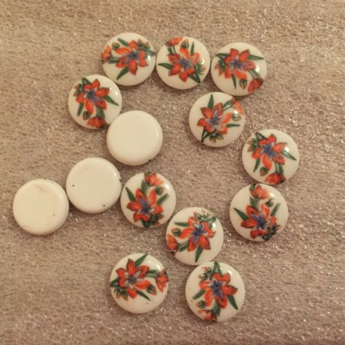 24 FB AW510 10mm red//yellow floral design on white Limoges round cabochons