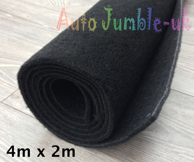 4m x 2m Resine Car Carpet in Black THICK Boot Lining Trimming Car Mat Campervan