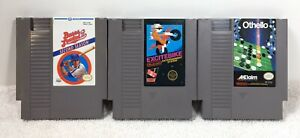 Nintendo-NES-3-game-lot-Bases-Loaded-2-Othello-Excitebike-Tested