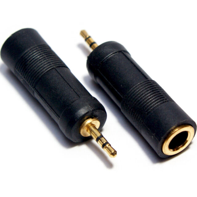 "GOLD 2.5mm Mini Male to 6.35mm ¼"" Female Adapter–Stereo Headphone Jack Converter"