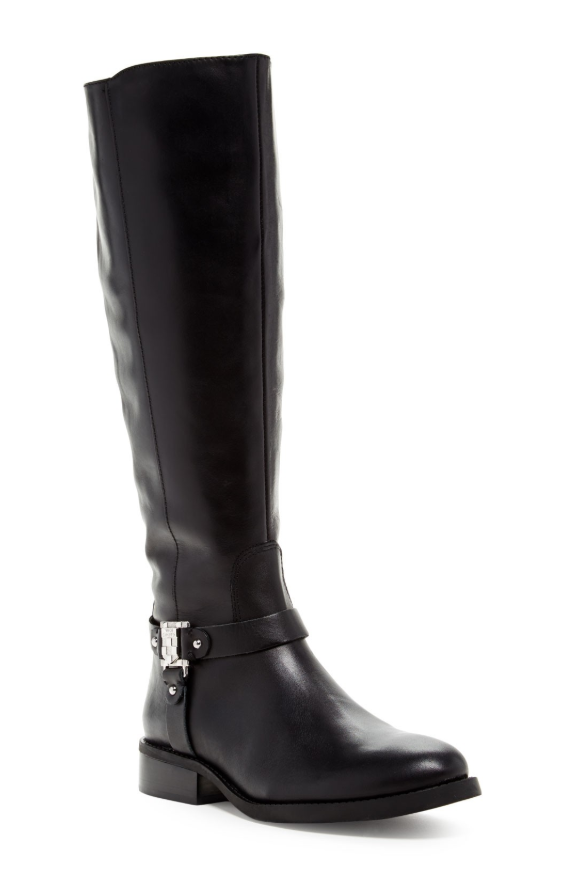 Vince Camuto Farren Women's Black Leather Riding Boot Sz 8 3092