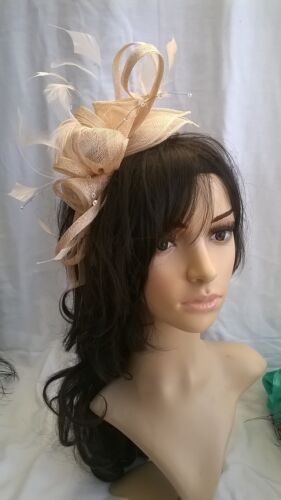 Fuschia Pink Feather Fascinator.rosette on a headband..for wedding races..new