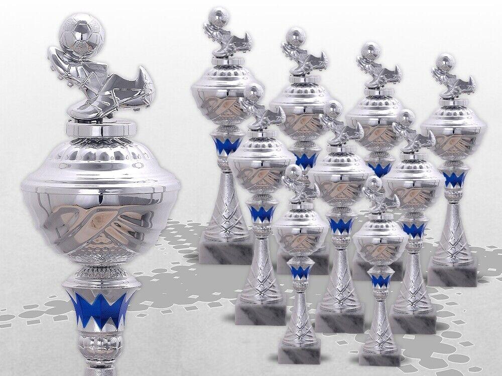 9er FUSBALL Pokale mit Figur Powalserie mit Gravur TOP Preis Silber  blau