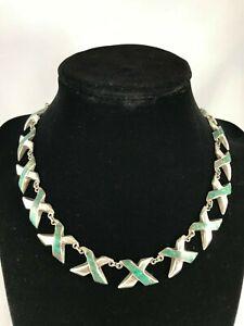 ENRIQUE-LEDESMA-Taxco-Mexico-Necklace-Sterling-Silver-Malachite-Xs-Vintage-1950s