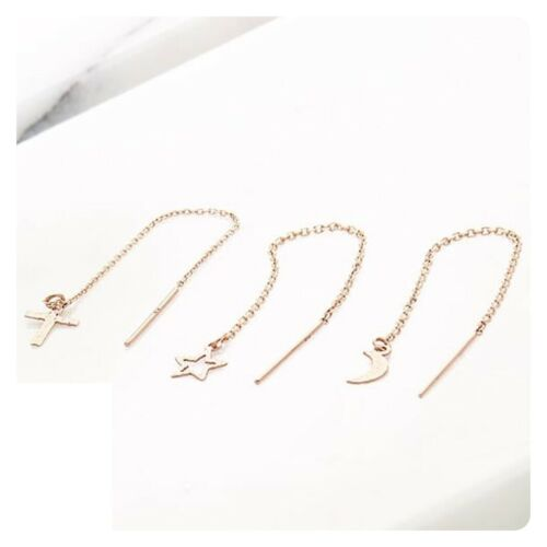 Details about  /TPD 14K Solid Yellow Gold Hexagon Long Drop Dangle Threader a Pair of Earrings