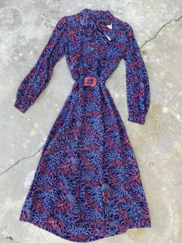 Vintage 1930s Blue & Pink Floral Print Rayon Dress