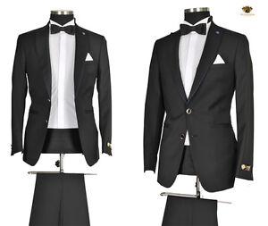 Herren Anzug Sakko Hose Smoking Business Hochzeit Party Schwarz Slim Fit Gr.54