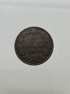 Kingdom-D-039-Italia-1878-1900-Umberto-I-2-Cents-1897