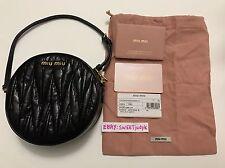 Authentic Miu Miu Matelasse Black Twisted Leather Wristlet mini small bag clutch
