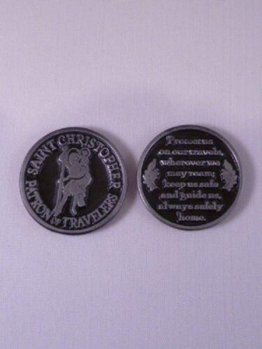 St Christopher Poche jeton médaille souvenir en Métal Solide Protection des voyageurs