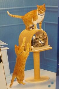 New-Pet-Essentials-Cat-Scratcher-amp-Climber-30-034-Condo-Tower-Natural-Sisal-amp-Wood