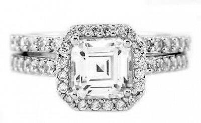 Sterling Silver 2 Ct Cushion Cut Cubic Zirconia Engagement and Wedding Set Ring