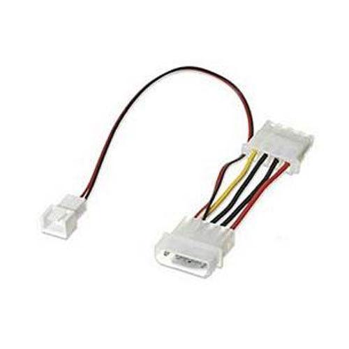 3-Pin Male Fan to 2x 4-Pin Molex 1x Male, 1x Female Power Fan Cable Adapter