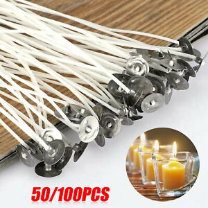 50-100PCS-Candle-Wicks-6-Inch-Cotton-Core-Candle-Making-Supplies-Pre-Tabbed-NEW