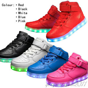 Details About Boy Girl Luminous Tennies High Top Shoes Kids Led Light Up School Trainer Shoes