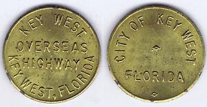 WHOLESALE-TEN-10-KEY-WEST-FLORIDA-OVERSEAS-HIGHWAY-TOKEN-with-METAL-SPOTTING