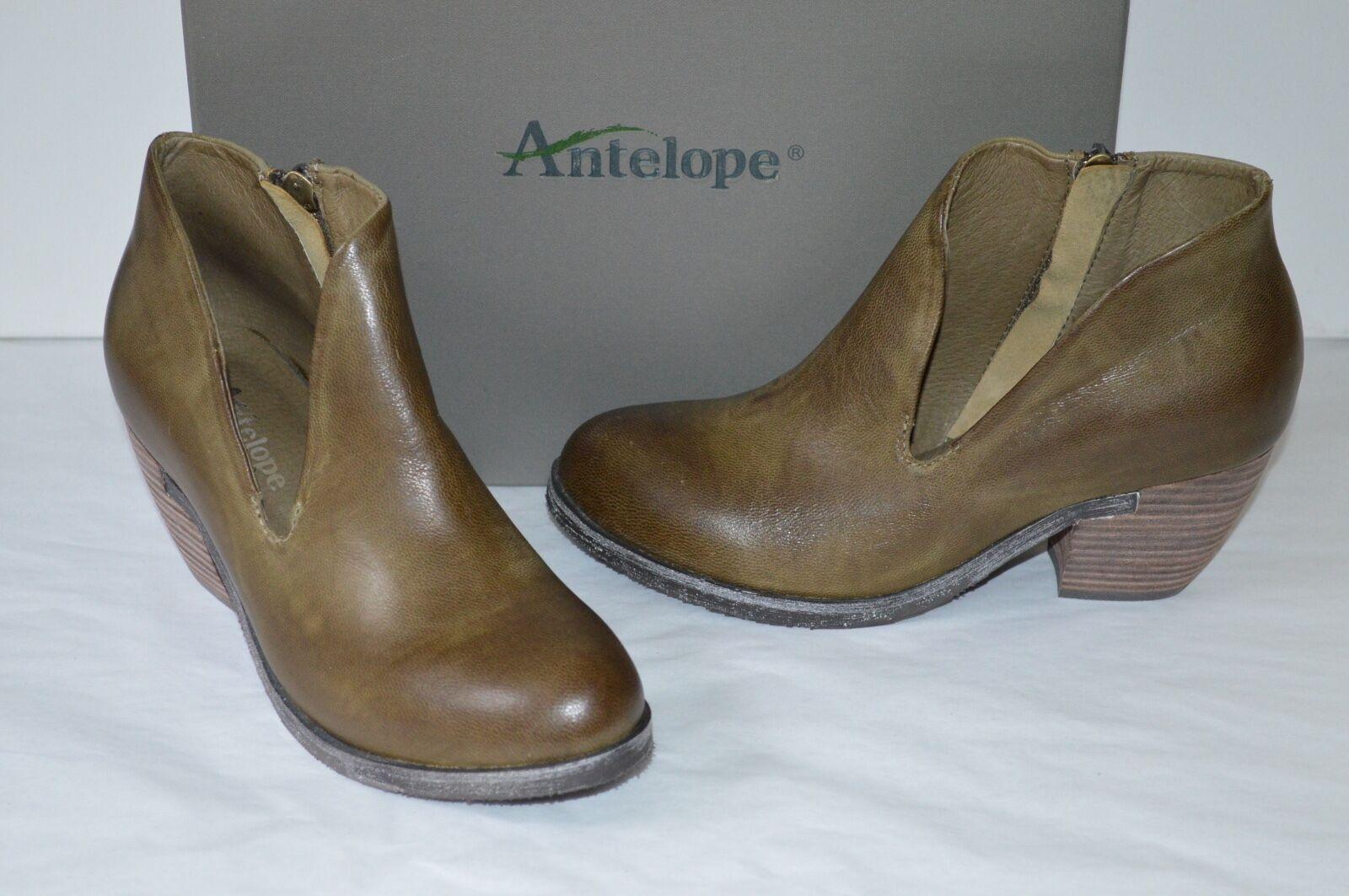 New  200 Antelope 660 Khaki Pelle Slit Bootie Stivali 37/6 Short Ankle Heel