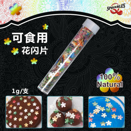 Rainbow Glitter Flowers Natural Cupcake Decorations Edible Toppers Sugar Free