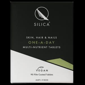 QSilica Skin Hair and Nail ONE-A-DAY (90 Tablets) VEGAN Colloidal Silica