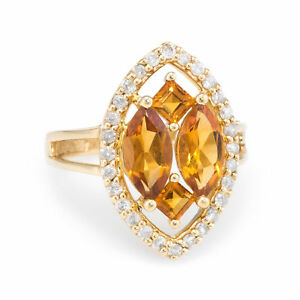 7d7dd739967dd Details about Citrine Diamond Navette Cocktail Ring Vintage 14k Yellow Gold  Estate Jewelry