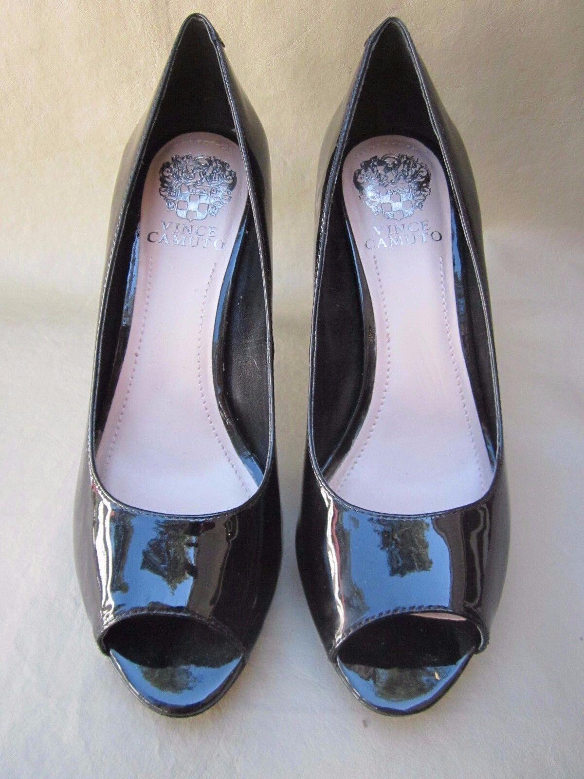 Vince Camuto  femme escarpins chaussures noir cuir verni 7.5 m USA 37.5 Euro Nice