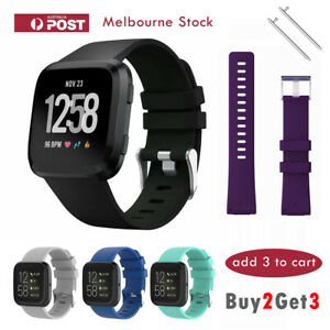 Fitbit-Versa-1-amp-Lite-Band-Replacement-Sports-Silicone-Watch-Strap-Silver-Buckle