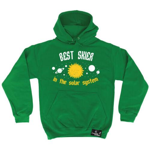 Best Skier Solar System Powder Monkeez HOODIE hoody birthday gift ski skiing