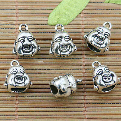 7pcs tibetan silver color 2sided Buddha charms EF2314