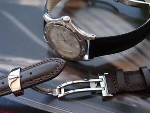 Hi Quality Leather Strap Band Deployment Clasp Fit Raymond Weil