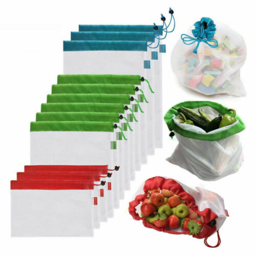 Reusable Mesh Produce Bags Fruit Vegetable Storage Shopping Eco Friendly US
