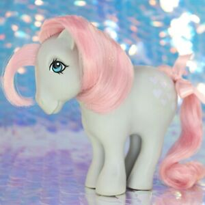 Vintage-My-Little-Pony-SNUZZLE-Grey-Pink-Hearts-Collectors-Pose-CF-G1-MLP-BB990