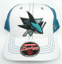 SAN JOSE SHARKS NHL VINTAGE RETRO 2-TONE TRUCKER SNAPBACK CAP HAT NEW WHITE/TEAL