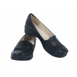 BLACK REAL LEATHER WOMENS FLAT WIDE FIT