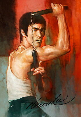 Bruce Lee KungFu Moive Film Poster Wallpaper Autograph Autograph Wall Home Decor