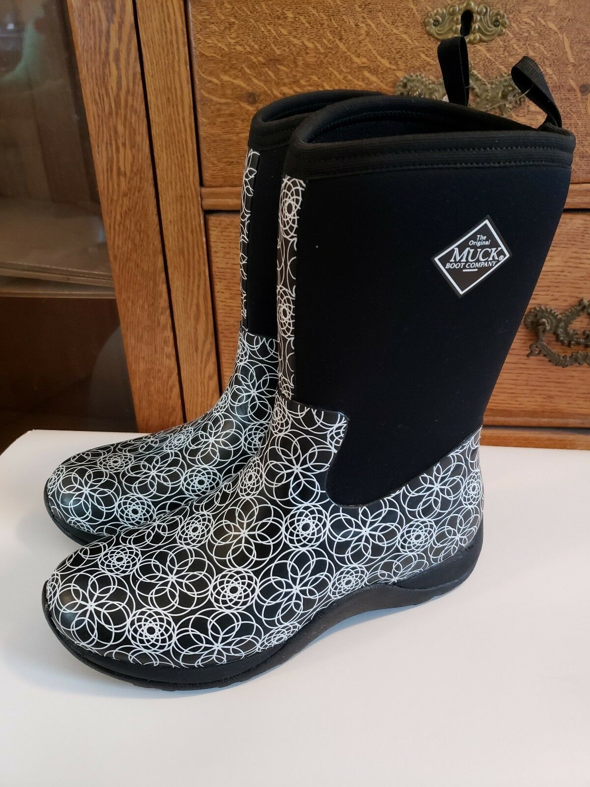 Nuevo sin etiquetas para mujer de fin de de de semana Impermeable Negro blancoo Ártico Muck botas Swirl Print Sz 11  la red entera más baja