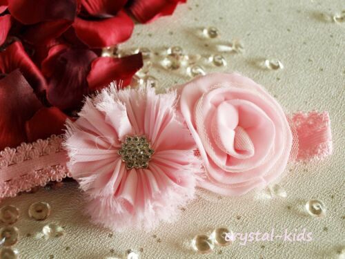 Bebé niñas flor rosa de cristal de Reborn elástico diadema hecha a mano