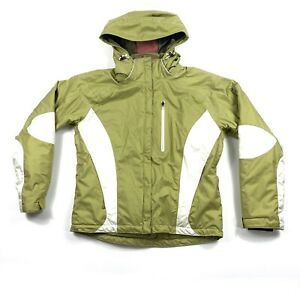 Obermeyer-Lolita-Women-s-Size-8-Green-White-Hooded-Winter-Ski-Jacket-Coat-EUC