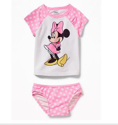 NWT Minnie Mouse Girl /'s Swim Bathing Suit Rashguard Top 6 9 12 18 24m 3T 4T 5T