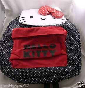 Hello-Kitty-backpack-Sanrio-Claire-039-s-black-red-white-polka-dot-bag