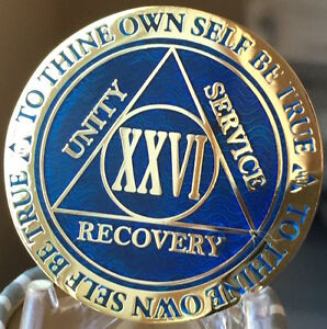 29 Year AA Medallion Blue Gold Plated Alcoholics Anonymous Sobriety Chip Coin