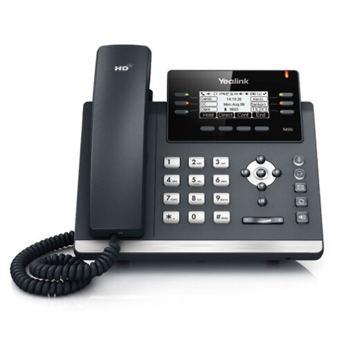 Yealink SIP-T42G 1 MONTH FREE SERVICE 12 Line HD IP Phone w// PoE /& PS VoIP