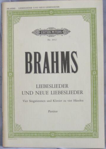 """3912 4 Voices Edition Peters Nr Brahms /""""Liebeslieder und Neue Liebeslieder/"""""""