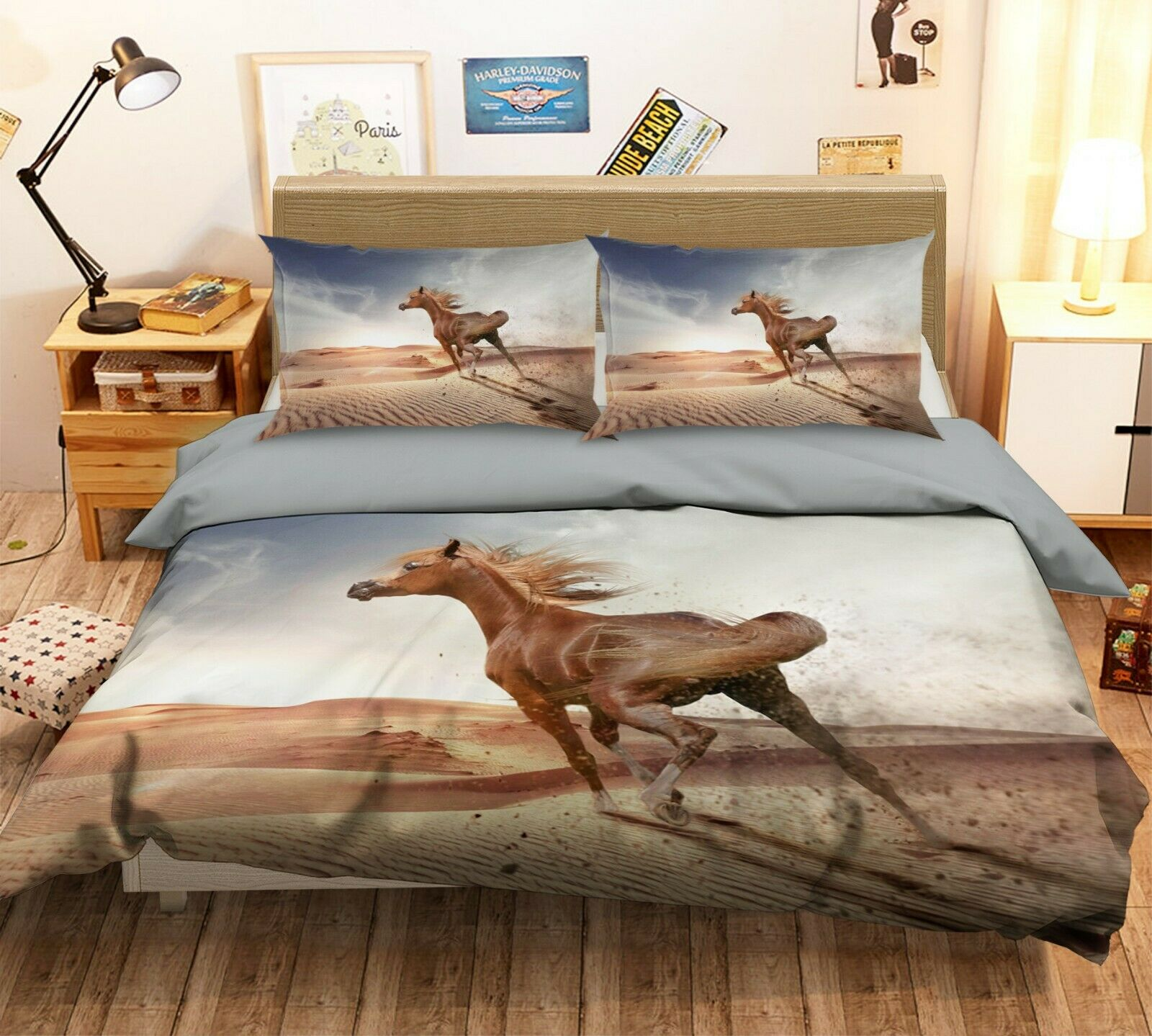 3D Desert Horse O33 Animal Bed Pillowcases Quilt Duvet Cover Set Queen King Amy