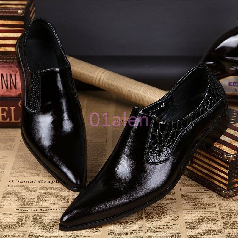 Men Dress Formal Pointy Toe Slip On Loafers Leather Business Nightclub shoes New